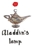 Aladdin`s magic lamp with Genie. Magic lamp from the story of Aladdin with Genie. Alladin`s Oriental eastern candle lamp with a Djinn. Hand drawn - watercolor royalty free illustration