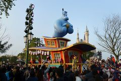 Aladdin in Shanghai Disneyland Cruise. With people or fans around stock image