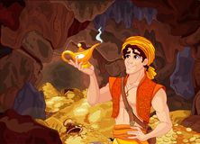 Aladdin and the Wonderful Lamp. Aladdin holds his magic lamp into a magic treasury cave royalty free illustration