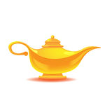 Aladdin Yellow Lamp Isolated Object-Vektor Stockfotos