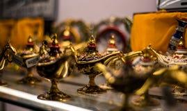 Aladin lampy dla pamiątek w Souq Waqif zdjęcie royalty free