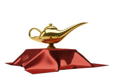 Aladin magic lamp. Aladdin magic lamp siting on a table cloth, isolated on white - 3d render vector illustration