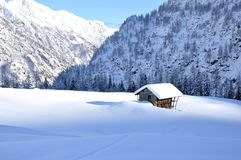 Alps winter chalet 2. Valsesia Alps winter landscape, typical chalet Stock Images