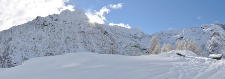 Alagna Alps winter panorama 3. Valsesia Alps winter landscape, Mutta dOtro view Royalty Free Stock Photo