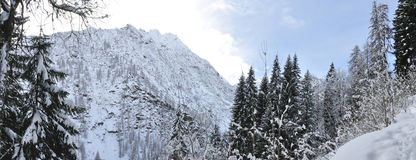 Alps winter panorama. Valsesia Alps winter landscape, Mutta dOtro view Royalty Free Stock Photos