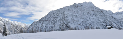 Alps winter panorama 5. Valsesia Alps winter landscape, Mutta dOtro view Royalty Free Stock Photography