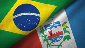 Alagoas state and Brazil flags textile cloth, fabric texture. Alagoas state and Brazil folded flags together stock illustration