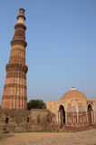 Alai gate and Qutub Minar tower in Delhi, India Stock Images