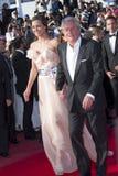 Alain Delon och Marine Lorphelin Royaltyfri Bild