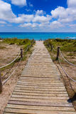 Alaior Cala Son Bou in Menorca turquoise beach at Balearic Royalty Free Stock Photos