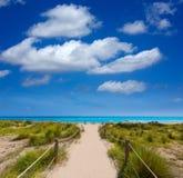 Alaior Cala syn Bou w Menorca turkusu plaży przy Balearic Obraz Royalty Free