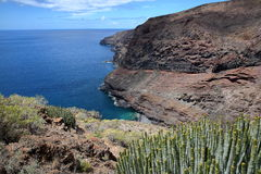 ALAJERO, LA GOMERA, SPAIN: View of the wild coast near Alajero from the hiking trail Sendera Quise  with cactus plants Royalty Free Stock Images