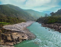 Alaknanda river flowing in canyon Royalty Free Stock Photography