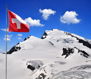Strahlhorn with Swiss flag Stock Image