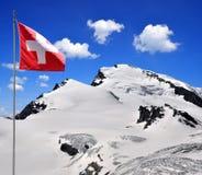 Strahlhorn with Swiss flag. Wallis, Swiss alps Stock Image