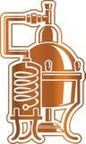 Alambique de la unidad de la destilación del alcohol del tonelero ilustración del vector