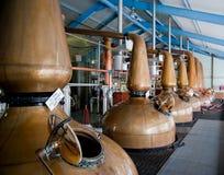 Alambiques de la destilería del whisky Imágenes de archivo libres de regalías
