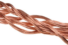 Alambre de cobre, el concepto de la industria energética Imagen de archivo