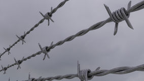 Alambre de púas contra el cielo nublado gris representación 3d Imágenes de archivo libres de regalías