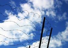 Alambre de púas en el cielo azul Imagen de archivo