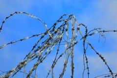Alambre de púas en el cielo azul Fotografía de archivo
