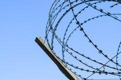 Alambre de púas en la cerca Protector cercando el objeto especialmente protegido del alambre de púas Alambre de púas sellado foto de archivo