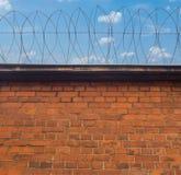 Alambre de púas en una pared de ladrillo Foto de archivo libre de regalías