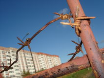 Alambre de púas oxidado viejo Fotografía de archivo