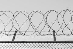 Alambre enredado de la maquinilla de afeitar encima de una cerca de perímetro de la malla de alambre, en blanco y negro fotografía de archivo libre de regalías