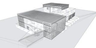 alambre-marco de la representación 3D del edificio. Fotografía de archivo libre de regalías