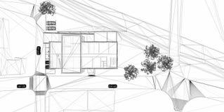 alambre-marco de la representación 3D del edificio. Imagenes de archivo