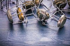 Alambres de la pila de los corchos de los champanes Imagenes de archivo