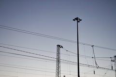 Alambres en los pilares con el cielo de la tarde en el fondo Fotos de archivo libres de regalías