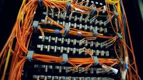 Alambres multicolores tapados en ranuras de los servidores del ordenador almacen de metraje de vídeo