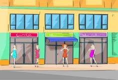 Alameda de compras que construye la tienda exterior de la mujer de la moda Fotografía de archivo
