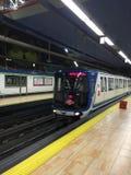 Alameda de Osuna Station, Madrid, Spain. Metro Line 5, Train arriving to Alameda Station Stock Photography