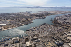 Alameda Island and the Port of Oakland Aerial. Oakland, California, USA - September 19, 2016:  Aerial view of the Port of Oakland, Alameda Island and San Stock Image