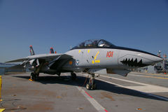 ALAMEDA, USA - MARCH 23, 2010: F-14A Tomcat, aircraft carrier Hornet in Alameda, USA on March 23, 2010. Royalty Free Stock Photography