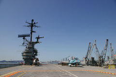 ALAMEDA, USA - MARCH 23, 2010: flight deck, aircraft carrier Hornet in Alameda, USA on March 23, 2010. stock photos