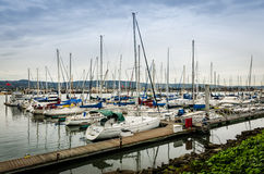 Alameda yacht club boat dock. In spring Stock Photos