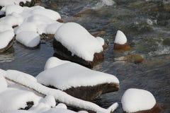 Alamedin -在第一降雪以后的山河 库存图片
