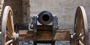 Alamo canon. Watching into the barrel of old cannon near Alamo stock image