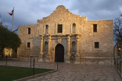 The Alamo at Dusk. The famous Alamo at dusk and glowing in the spotlights royalty free stock image