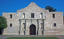 The Alamo. El Alamo, San Antonio, TX; the decoration at the top of the wall was added later, it did not exist at the time of the battle in March, 1836 royalty free stock image