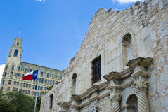 Alamo with flag Royalty Free Stock Photos