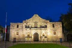 The Alamo Mission at night, San Antonio, Texas, USA stock images