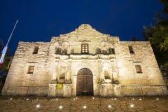 The Alamo Mission at night, San Antonio, Texas, USA stock photos