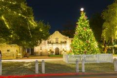 The Alamo Mission at night, San Antonio, Texas, USA stock image