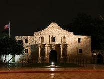 Alamo at Night. The Alamo lit up at night in San Antonio Texas stock photos