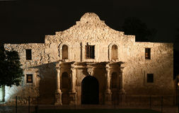 Alamo at Night. The Alamo lit up at night in San Antonio Texas stock image
